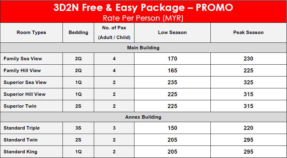 De'Baron Resort 3D2N Free & Easy Package – PROMO