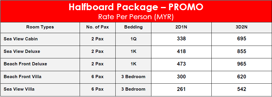 Minang Cove Resort Halfboard Package – PROMO